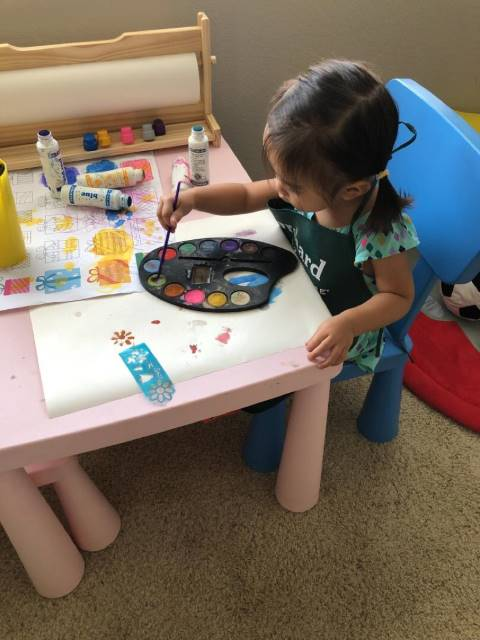 Growing-up daycare Ladera Ranch - girl painting